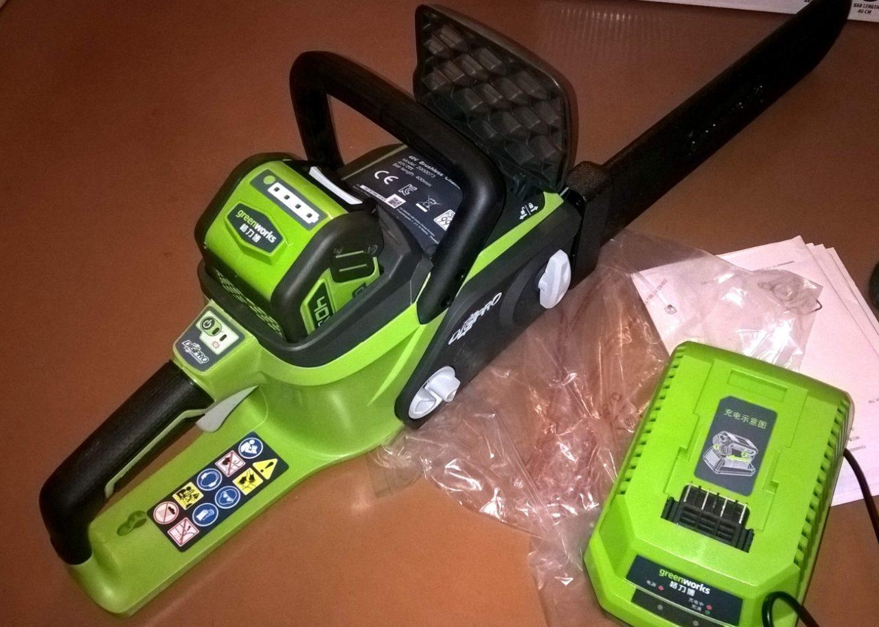 Цепная электропила Greenworks
